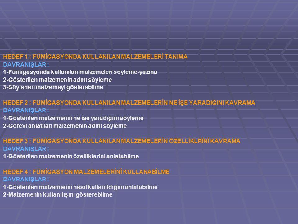 YÖNTEMLER : 1-Anlatım 2-Soru-cevap 3-Tartışma 4-İnceleme 5-Uygulama KAYNAKLAR : 1-Fümigasyon Genel Esasları Ve Uygulama Teknikleri Kitabı 2-Fümigasyon El Kitabı 3-Başarılı Fümigasyon Esasları (FAO İnternet Sitesi) LEVHA VE AFİŞLER : 1-Uyarı Levhaları VİDEOLAR VE SLAYTLAR : 1-Methyl Bromid Fümigasyonu ile ilgili kısa video filmleri 2-Hidrojen Fosfit Fümigasyonu ile ilgili kısa video filmleri 3-Power Point resimli konu slaytları ARAÇ VE GEREÇLER : 1-Broşürler, fotoğraflar, fümigasyon malzemeleri