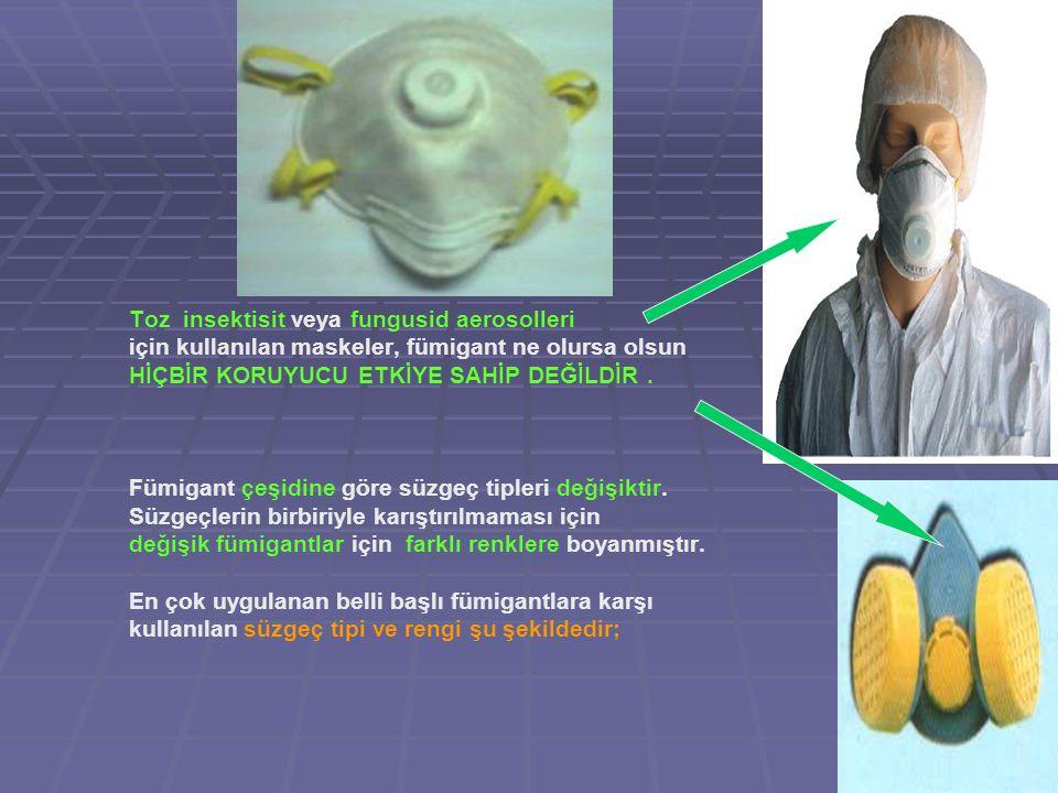 Toz insektisit veya fungusid aerosolleri için kullanılan maskeler, fümigant ne olursa olsun HİÇBİR KORUYUCU ETKİYE SAHİP DEĞİLDİR.