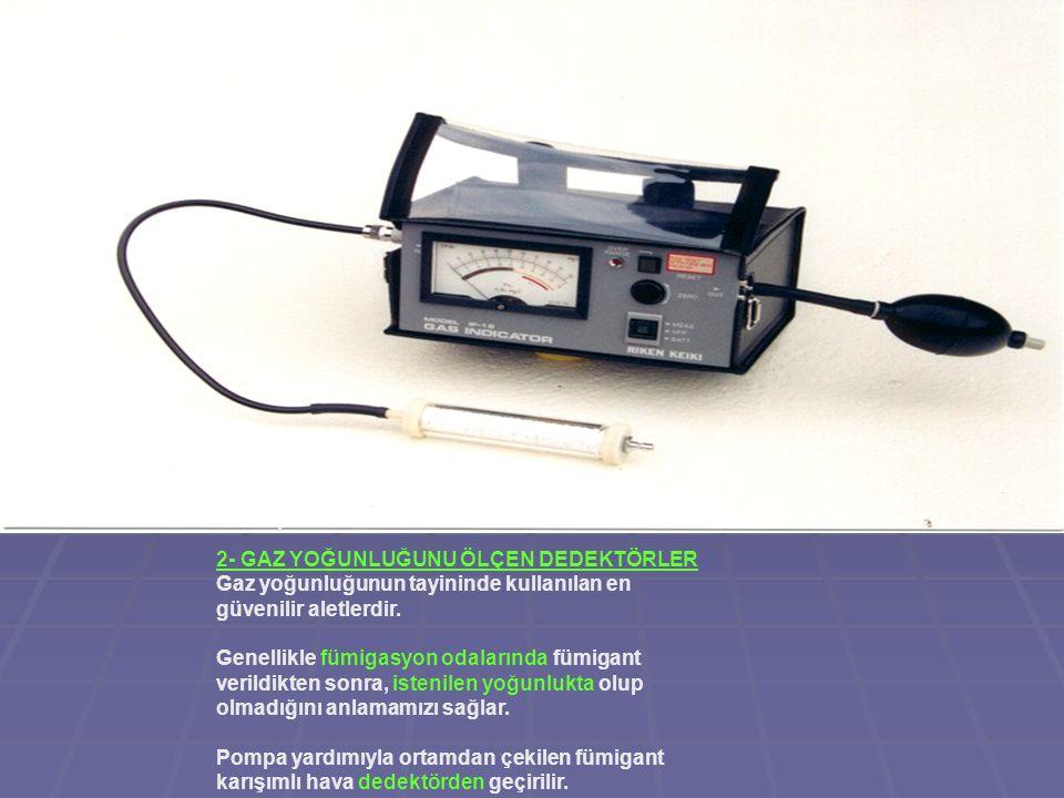 2- GAZ YOĞUNLUĞUNU ÖLÇEN DEDEKTÖRLER Gaz yoğunluğunun tayininde kullanılan en güvenilir aletlerdir.