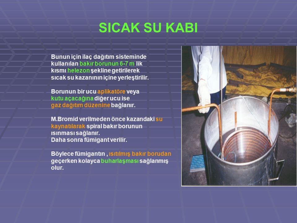 SICAK SU KABI Bunun için ilaç dağıtım sisteminde kullanılan bakır borunun 6-7 m lik kısmı helezon şekline getirilerek sıcak su kazanının içine yerleştirilir.