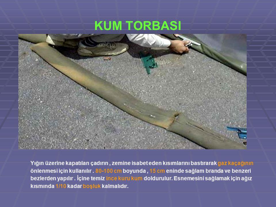 KUM TORBASI Yığın üzerine kapatılan çadırın, zemine isabet eden kısımlarını bastırarak gaz kaçağının önlenmesi için kullanılır.
