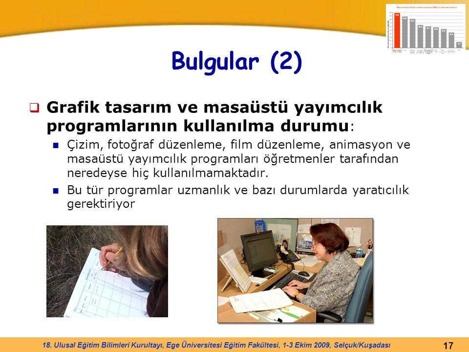 17 18. Ulusal Eğitim Bilimleri Kurultayı, Ege Üniversitesi Eğitim Fakültesi, 1-3 Ekim 2009, Selçuk/Kuşadası Bulgular (2)  Grafik tasarım ve masaüstü