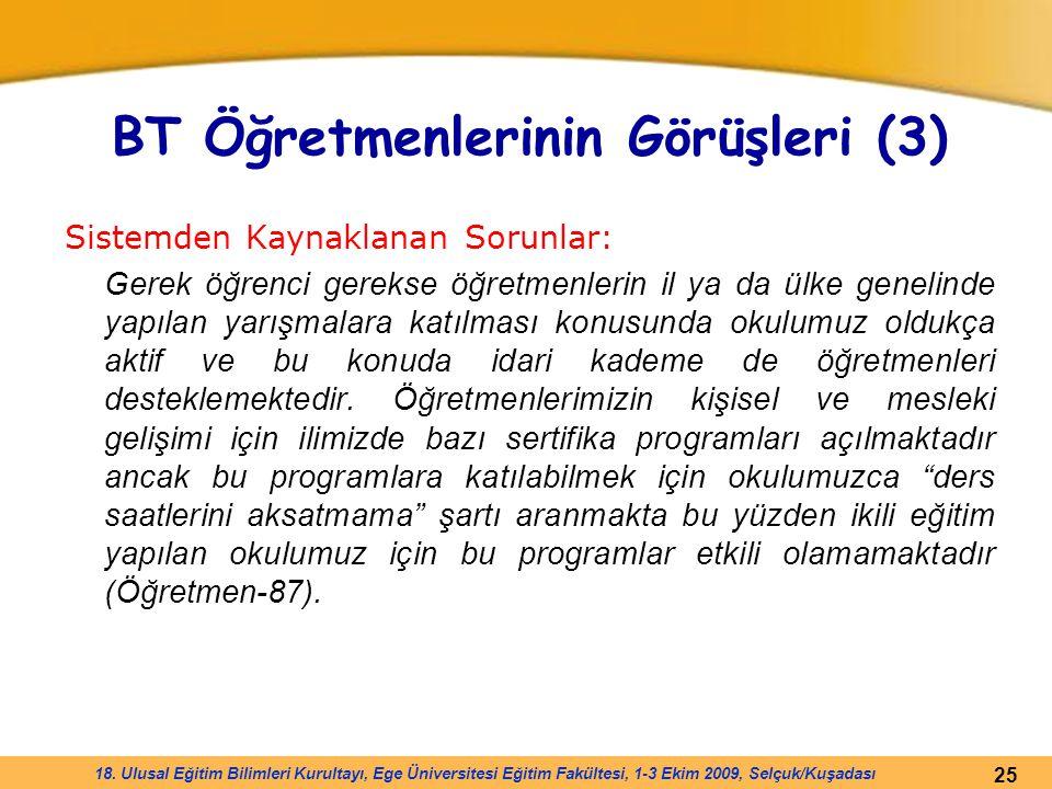 25 18. Ulusal Eğitim Bilimleri Kurultayı, Ege Üniversitesi Eğitim Fakültesi, 1-3 Ekim 2009, Selçuk/Kuşadası BT Öğretmenlerinin Görüşleri (3) Sistemden