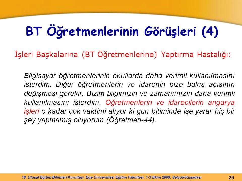 26 18. Ulusal Eğitim Bilimleri Kurultayı, Ege Üniversitesi Eğitim Fakültesi, 1-3 Ekim 2009, Selçuk/Kuşadası BT Öğretmenlerinin Görüşleri (4) İşleri Ba