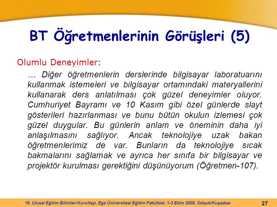 27 18. Ulusal Eğitim Bilimleri Kurultayı, Ege Üniversitesi Eğitim Fakültesi, 1-3 Ekim 2009, Selçuk/Kuşadası BT Öğretmenlerinin Görüşleri (5) Olumlu De