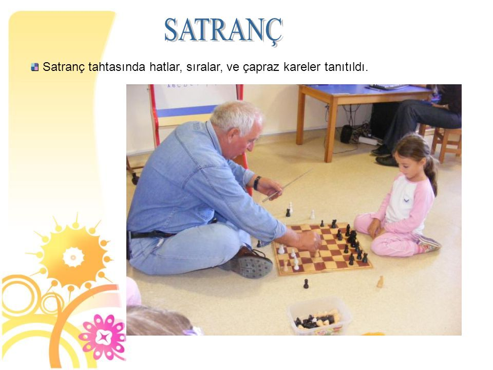 Satranç tahtasında hatlar, sıralar, ve çapraz kareler tanıtıldı.