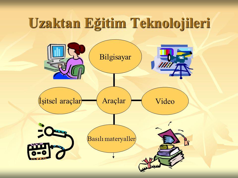 Uzaktan Eğitim Teknolojileri Araçlar BilgisayarVideo Basılı materyaller İşitsel araçlar