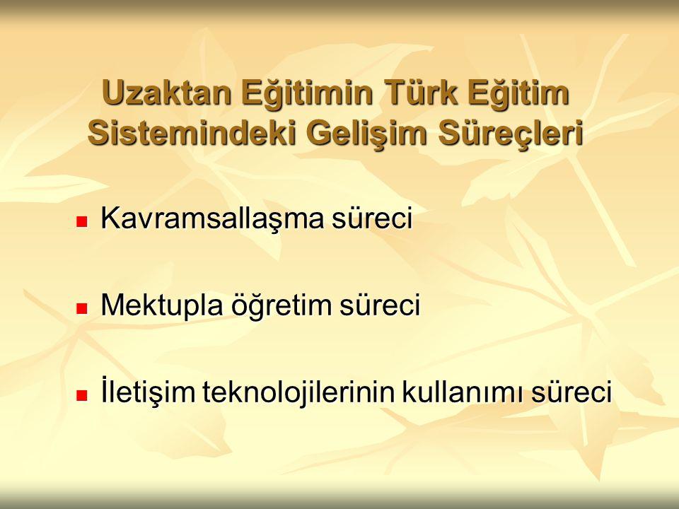 Uzaktan Eğitimin Türk Eğitim Sistemindeki Gelişim Süreçleri Kavramsallaşma süreci Kavramsallaşma süreci Mektupla öğretim süreci Mektupla öğretim süreci İletişim teknolojilerinin kullanımı süreci İletişim teknolojilerinin kullanımı süreci