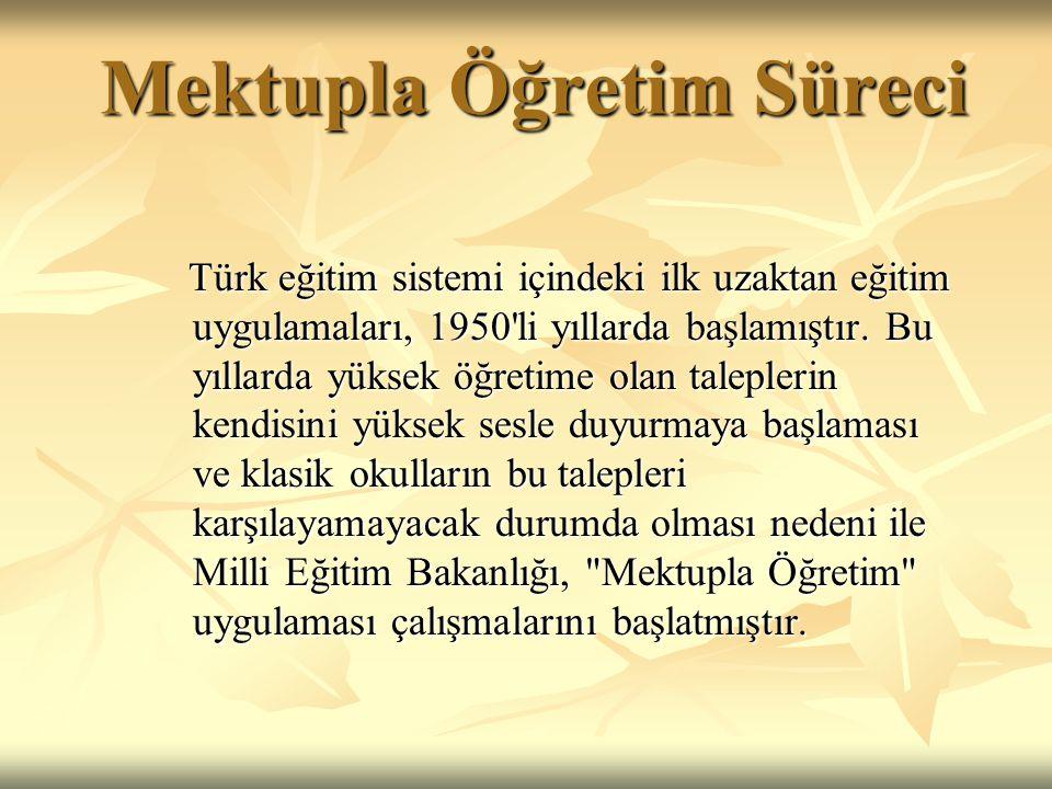 Mektupla Öğretim Süreci Mektupla Öğretim Süreci Türk eğitim sistemi içindeki ilk uzaktan eğitim uygulamaları, 1950 li yıllarda başlamıştır.