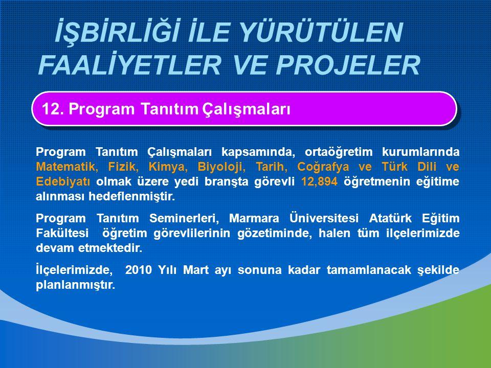 İŞBİRLİĞİ İLE YÜRÜTÜLEN FAALİYETLER VE PROJELER 12. Program Tanıtım Çalışmaları Program Tanıtım Çalışmaları kapsamında, ortaöğretim kurumlarında Matem