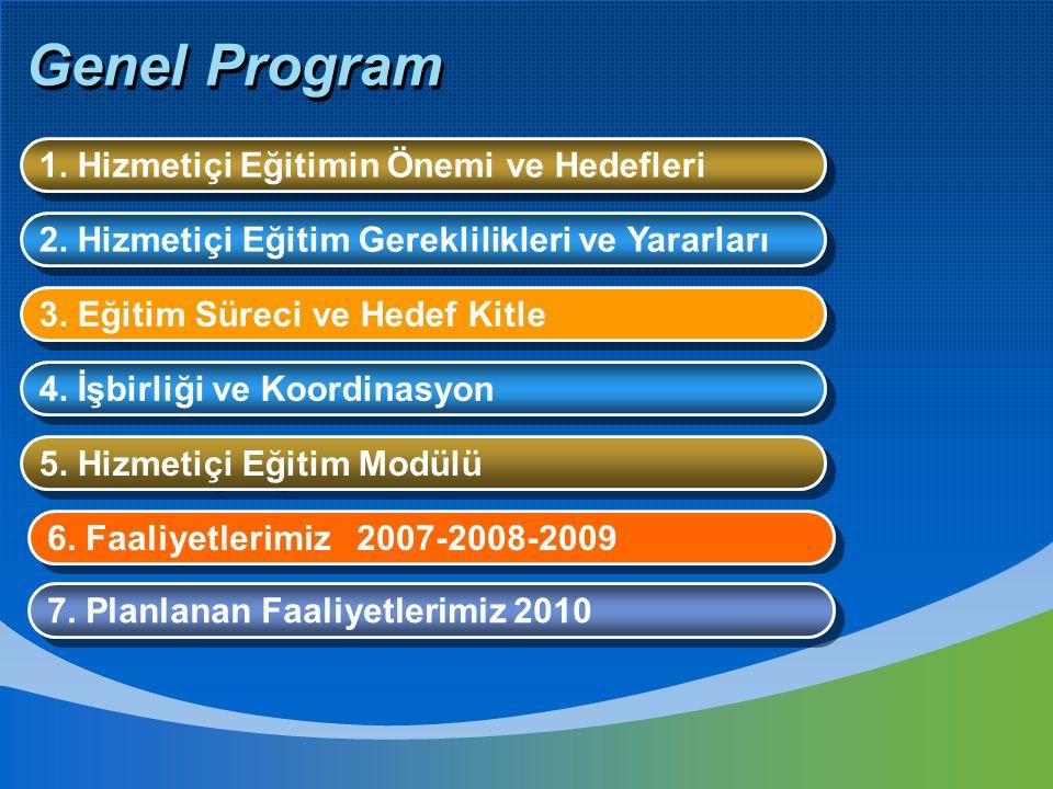 Genel Program 1. Hizmetiçi Eğitimin Önemi ve Hedefleri 2. Hizmetiçi Eğitim Gereklilikleri ve Yararları 7. Planlanan Faaliyetlerimiz 2010 5. Hizmetiçi
