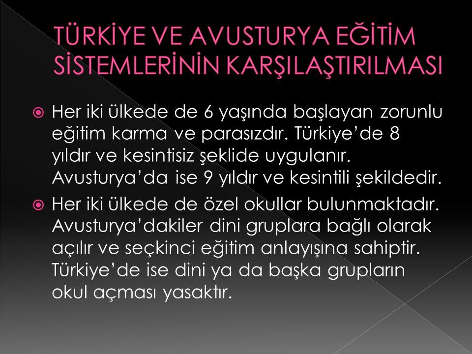  Her iki ülkede de 6 yaşında başlayan zorunlu eğitim karma ve parasızdır. Türkiye'de 8 yıldır ve kesintisiz şeklide uygulanır. Avusturya'da ise 9 yıl