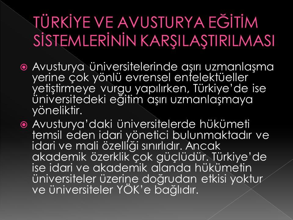  Avusturya üniversitelerinde aşırı uzmanlaşma yerine çok yönlü evrensel entelektüeller yetiştirmeye vurgu yapılırken, Türkiye'de ise üniversitedeki e