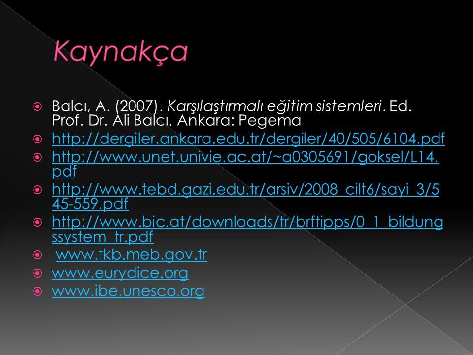  Balcı, A.(2007). Karşılaştırmalı eğitim sistemleri.