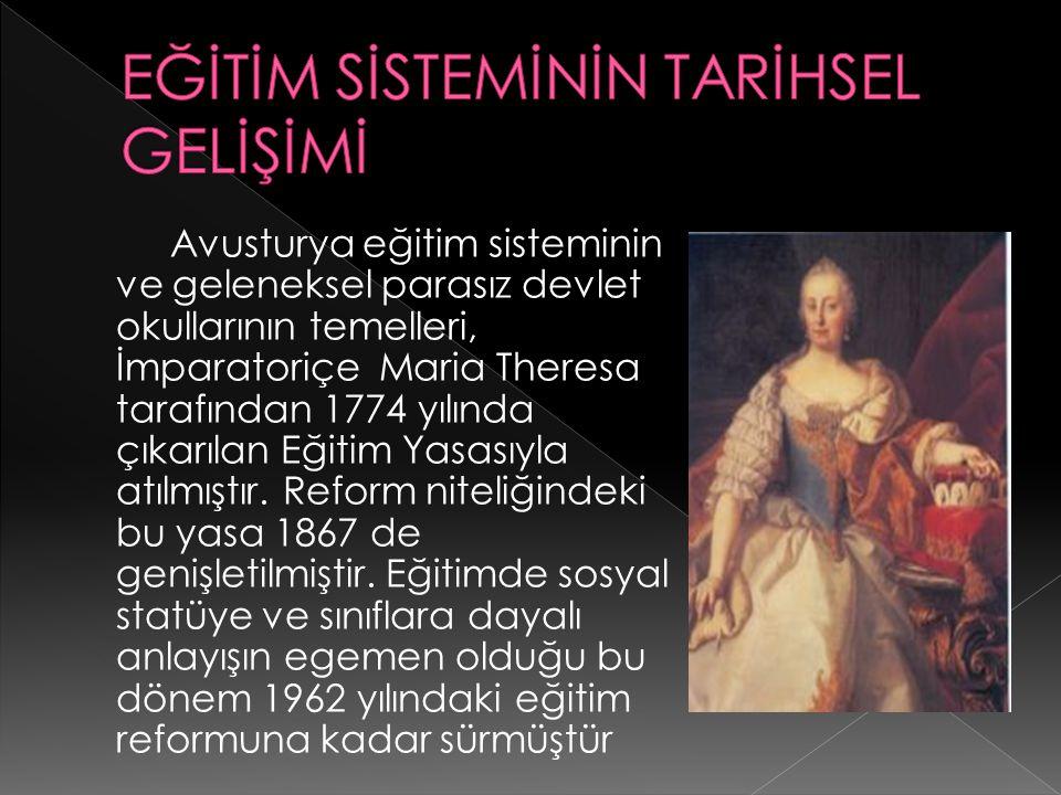 Avusturya eğitim sisteminin ve geleneksel parasız devlet okullarının temelleri, İmparatoriçe Maria Theresa tarafından 1774 yılında çıkarılan Eğitim Yasasıyla atılmıştır.