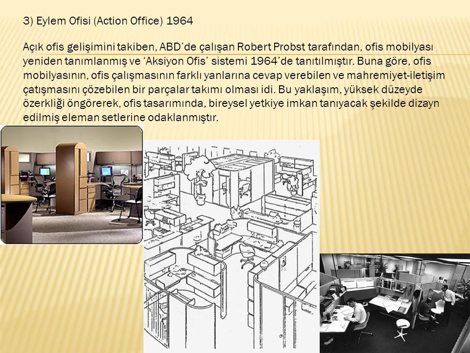 3) Eylem Ofisi (Action Office) 1964 Açık ofis gelişimini takiben, ABD'de çalışan Robert Probst tarafından, ofis mobilyası yeniden tanımlanmış ve 'Aksi