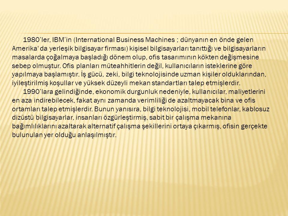 1980'ler, IBM'in (International Business Machines ; dünyanın en önde gelen Amerika' da yerleşik bilgisayar firması) kişisel bilgisayarları tanıttığı v