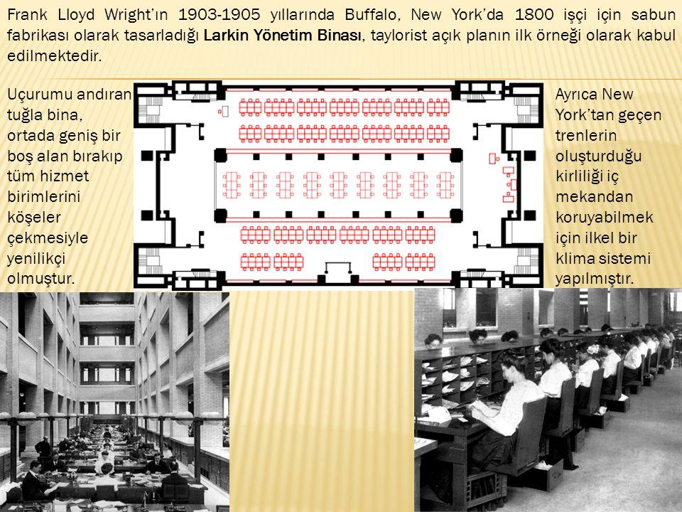 Frank Lloyd Wright'ın 1903-1905 yıllarında Buffalo, New York'da 1800 işçi için sabun fabrikası olarak tasarladığı Larkin Yönetim Binası, taylorist açı