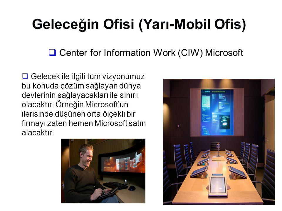Geleceğin Ofisi (Yarı-Mobil Ofis)  Center for Information Work (CIW) Microsoft  Gelecek ile ilgili tüm vizyonumuz bu konuda çözüm sağlayan dünya devlerinin sağlayacakları ile sınırlı olacaktır.