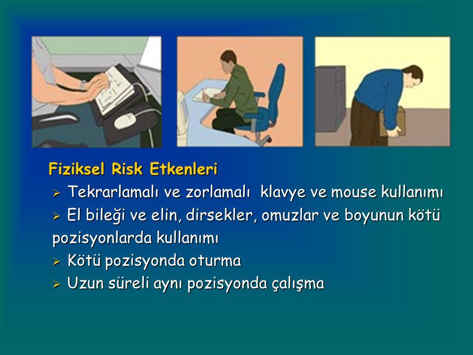 Fiziksel Risk Etkenleri Fiziksel Risk Etkenleri  Tekrarlamalı ve zorlamalı klavye ve mouse kullanımı  El bileği ve elin, dirsekler, omuzlar ve boyunun kötü pozisyonlarda kullanımı  Kötü pozisyonda oturma  Uzun süreli aynı pozisyonda çalışma