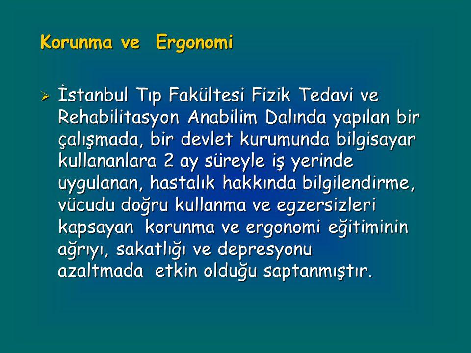 Korunma ve Ergonomi  İstanbul Tıp Fakültesi Fizik Tedavi ve Rehabilitasyon Anabilim Dalında yapılan bir çalışmada, bir devlet kurumunda bilgisayar ku