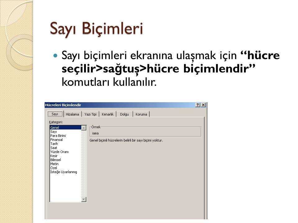 Sayı Biçimleri Sayı biçimleri ekranına ulaşmak için hücre seçilir>sa ğ tuş>hücre biçimlendir komutları kullanılır.