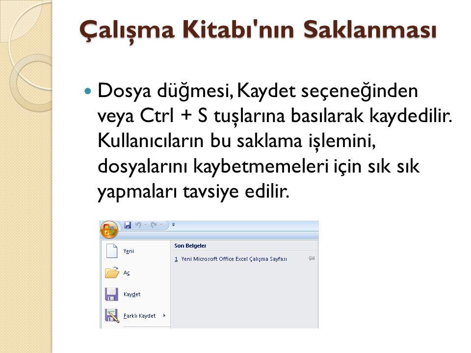 Çalışma Kitabı nın Saklanması Dosya dü ğ mesi, Kaydet seçene ğ inden veya Ctrl + S tuşlarına basılarak kaydedilir.