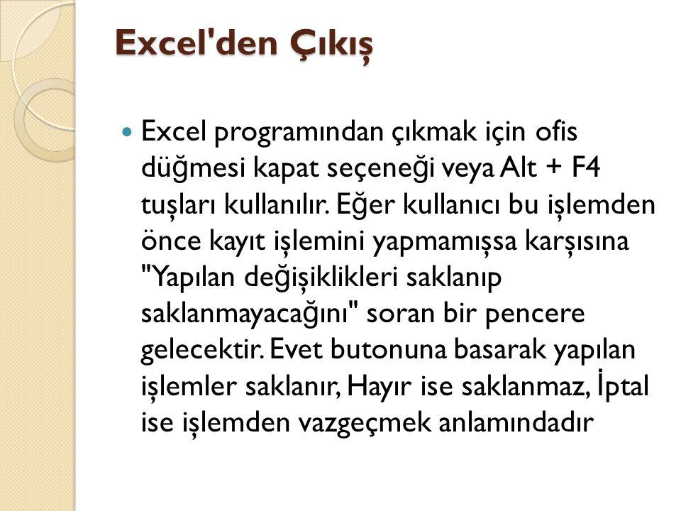 Excel den Çıkış Excel programından çıkmak için ofis dü ğ mesi kapat seçene ğ i veya Alt + F4 tuşları kullanılır.