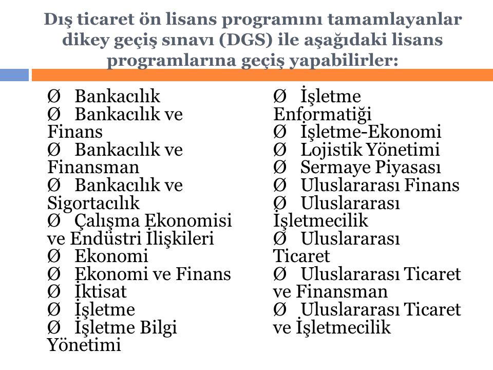Dış ticaret ön lisans programını tamamlayanlar dikey geçiş sınavı (DGS) ile aşağıdaki lisans programlarına geçiş yapabilirler: Ø Bankacılık Ø Bankacılık ve Finans Ø Bankacılık ve Finansman Ø Bankacılık ve Sigortacılık Ø Çalışma Ekonomisi ve Endüstri İlişkileri Ø Ekonomi Ø Ekonomi ve Finans Ø İktisat Ø İşletme Ø İşletme Bilgi Yönetimi Ø İşletme Enformatiği Ø İşletme-Ekonomi Ø Lojistik Yönetimi Ø Sermaye Piyasası Ø Uluslararası Finans Ø Uluslararası İşletmecilik Ø Uluslararası Ticaret Ø Uluslararası Ticaret ve Finansman Ø Uluslararası Ticaret ve İşletmecilik