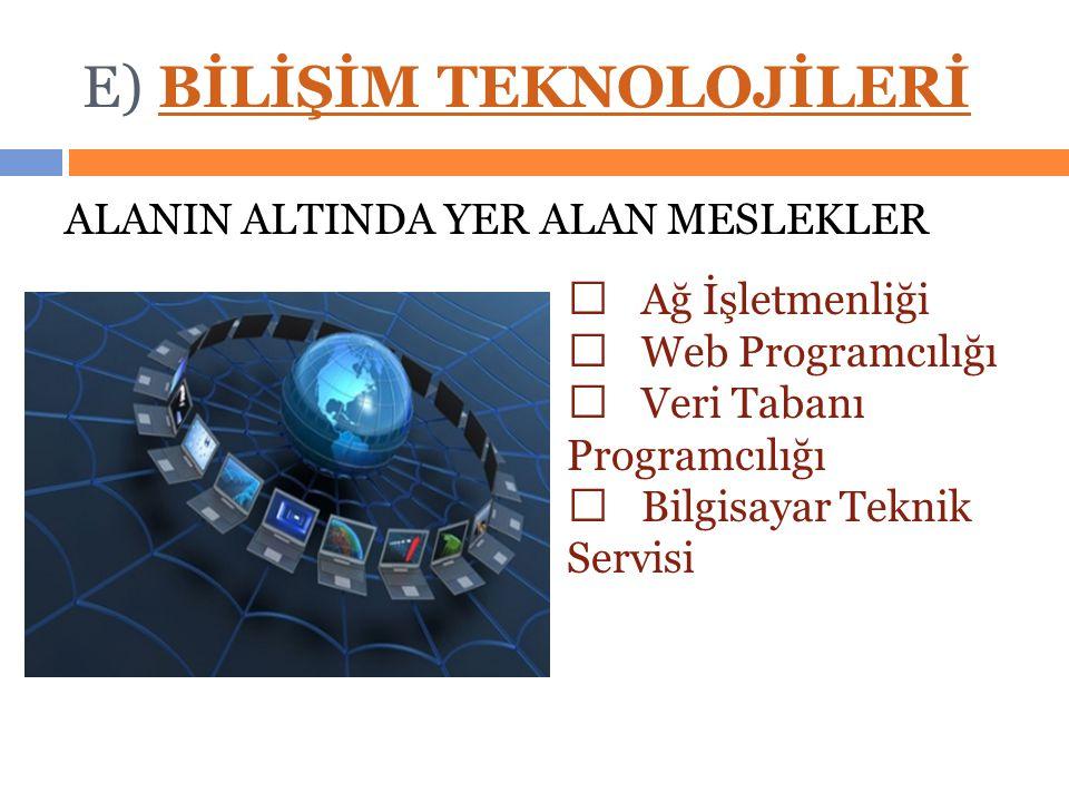 E) BİLİŞİM TEKNOLOJİLERİBİLİŞİM TEKNOLOJİLERİ ALANIN ALTINDA YER ALAN MESLEKLER  Ağ İşletmenliği  Web Programcılığı  Veri Tabanı Programcılığı  Bilgisayar Teknik Servisi