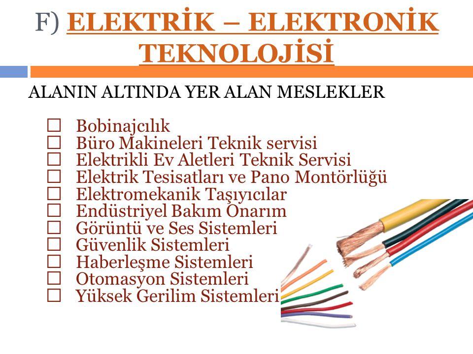 F) ELEKTRİK – ELEKTRONİK TEKNOLOJİSİELEKTRİK – ELEKTRONİK TEKNOLOJİSİ ALANIN ALTINDA YER ALAN MESLEKLER  Bobinajcılık  Büro Makineleri Teknik servisi  Elektrikli Ev Aletleri Teknik Servisi  Elektrik Tesisatları ve Pano Montörlüğü  Elektromekanik Taşıyıcılar  Endüstriyel Bakım Onarım  Görüntü ve Ses Sistemleri  Güvenlik Sistemleri  Haberleşme Sistemleri  Otomasyon Sistemleri  Yüksek Gerilim Sistemleri