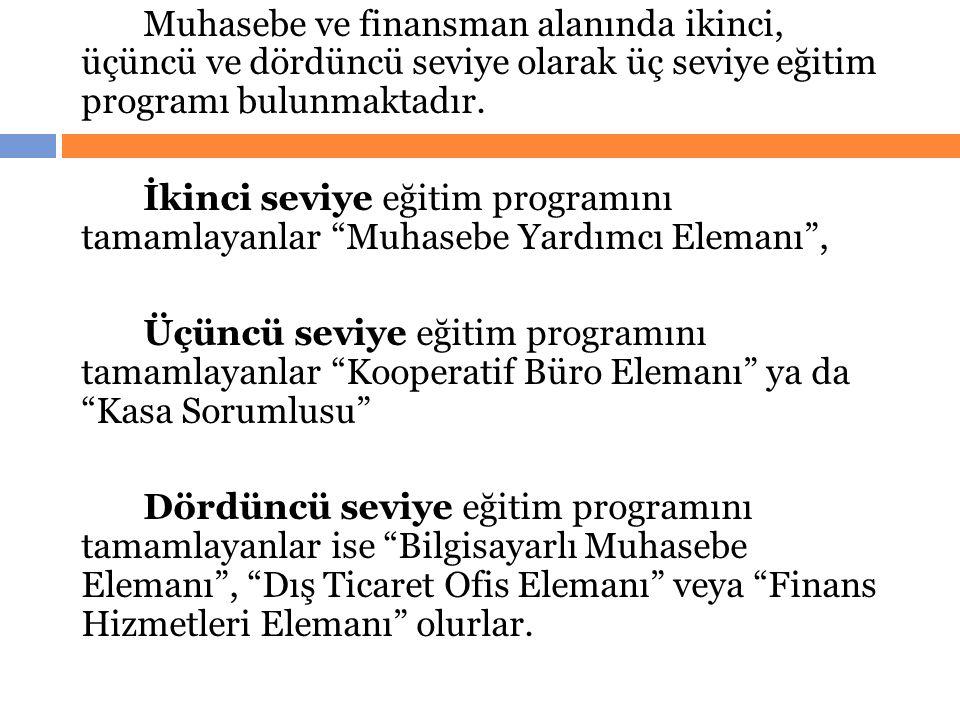 Muhasebe ve finansman alanında ikinci, üçüncü ve dördüncü seviye olarak üç seviye eğitim programı bulunmaktadır. İkinci seviye eğitim programını tamam
