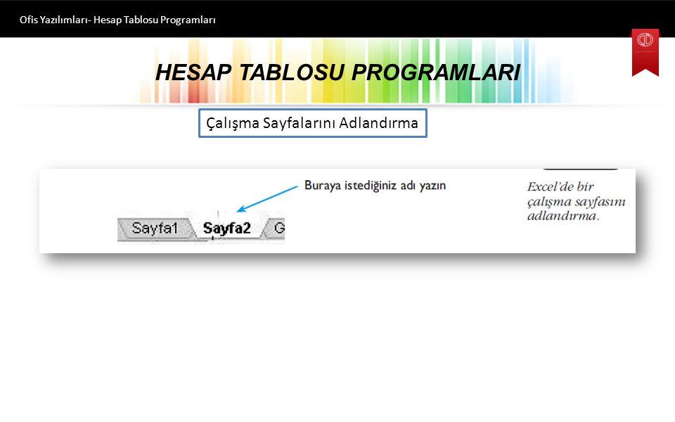 HESAP TABLOSU PROGRAMLARI Ofis Yazılımları- Hesap Tablosu Programları Çalışma Sayfası Ekleme ve Silme