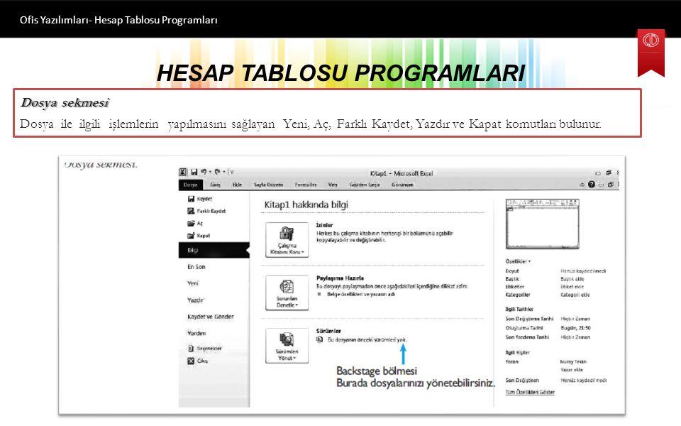 HESAP TABLOSU PROGRAMLARI Ofis Yazılımları- Hesap Tablosu Programları Çalışma Sayfalarını Adlandırma