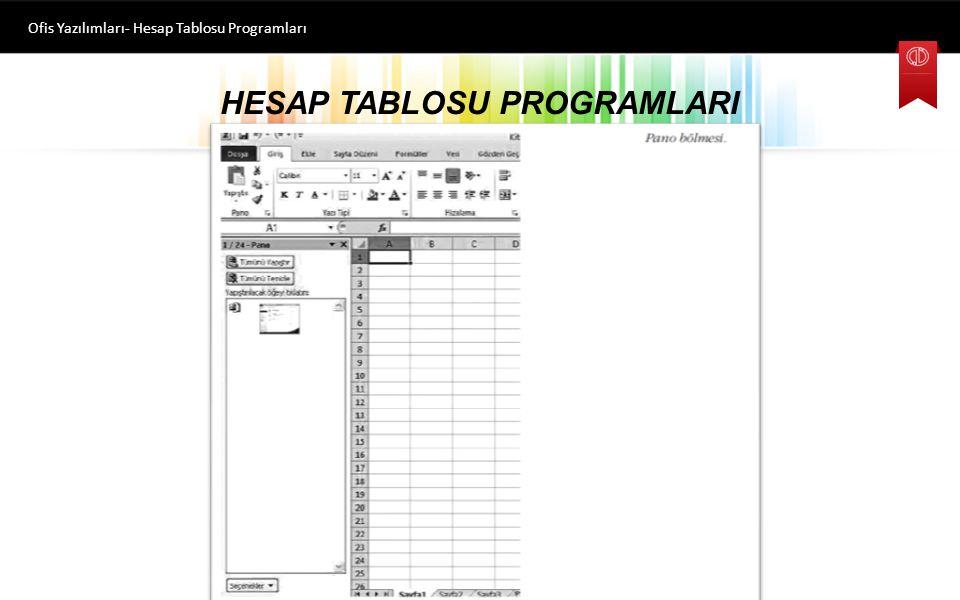 HESAP TABLOSU PROGRAMLARI Ofis Yazılımları- Hesap Tablosu Programları Dosya sekmesi Dosya ile ilgili işlemlerin yapılmasını sağlayan Yeni, Aç, Farklı
