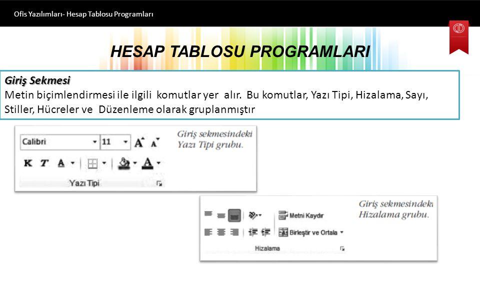 HESAP TABLOSU PROGRAMLARI Ofis Yazılımları- Hesap Tablosu Programları