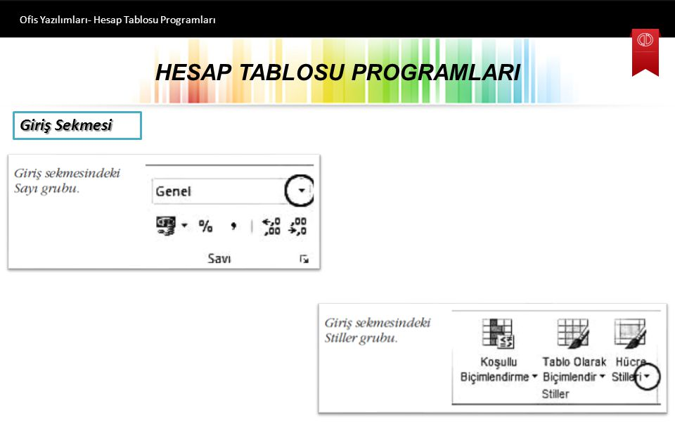 HESAP TABLOSU PROGRAMLARI Ofis Yazılımları- Hesap Tablosu Programları Giriş Sekmesi Metin biçimlendirmesi ile ilgili komutlar yer alır.