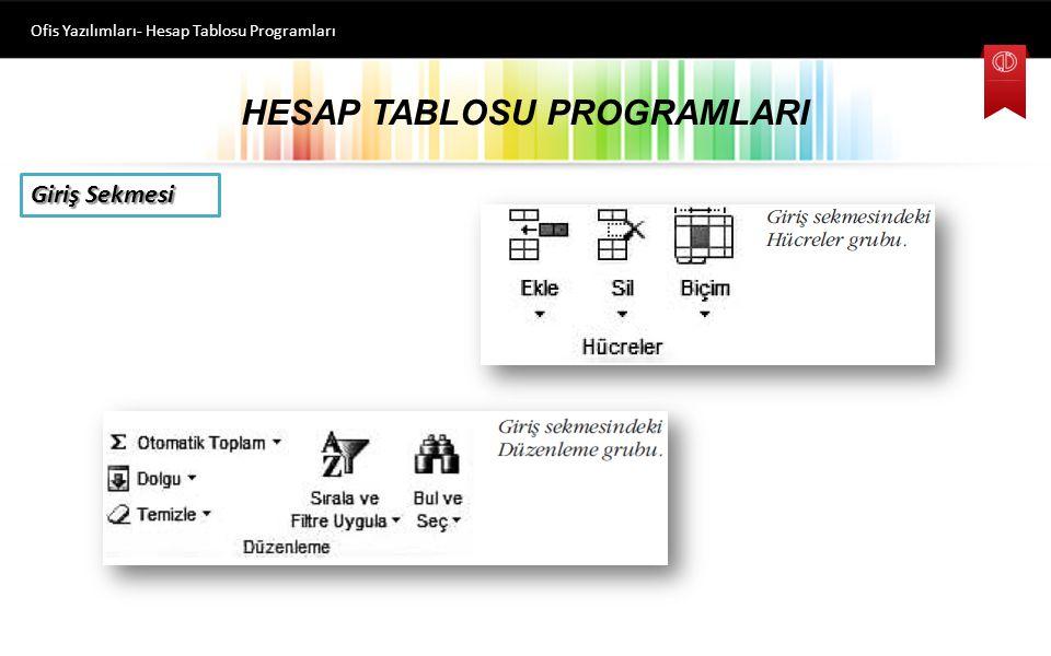 HESAP TABLOSU PROGRAMLARI Ofis Yazılımları- Hesap Tablosu Programları Giriş Sekmesi