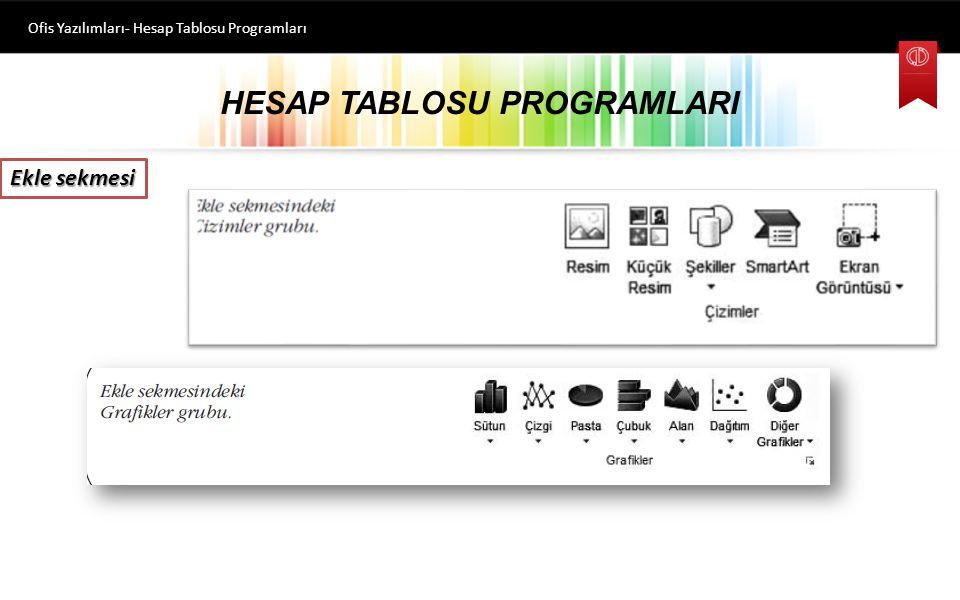 HESAP TABLOSU PROGRAMLARI Ofis Yazılımları- Hesap Tablosu Programları Ekle sekmesi Bu sekmede komutlar Tablolar, Çizimler, Grafikler, Mini Grafikler, Filtre, Bağlantılar, Metin ve Simgeler olarak gruplanmıştır.