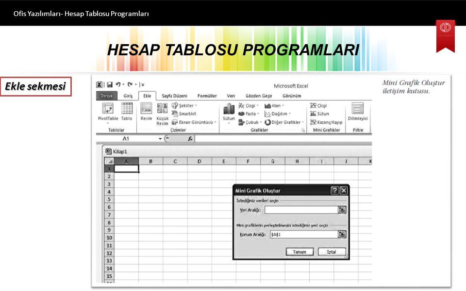 HESAP TABLOSU PROGRAMLARI Ofis Yazılımları- Hesap Tablosu Programları Ekle sekmesi