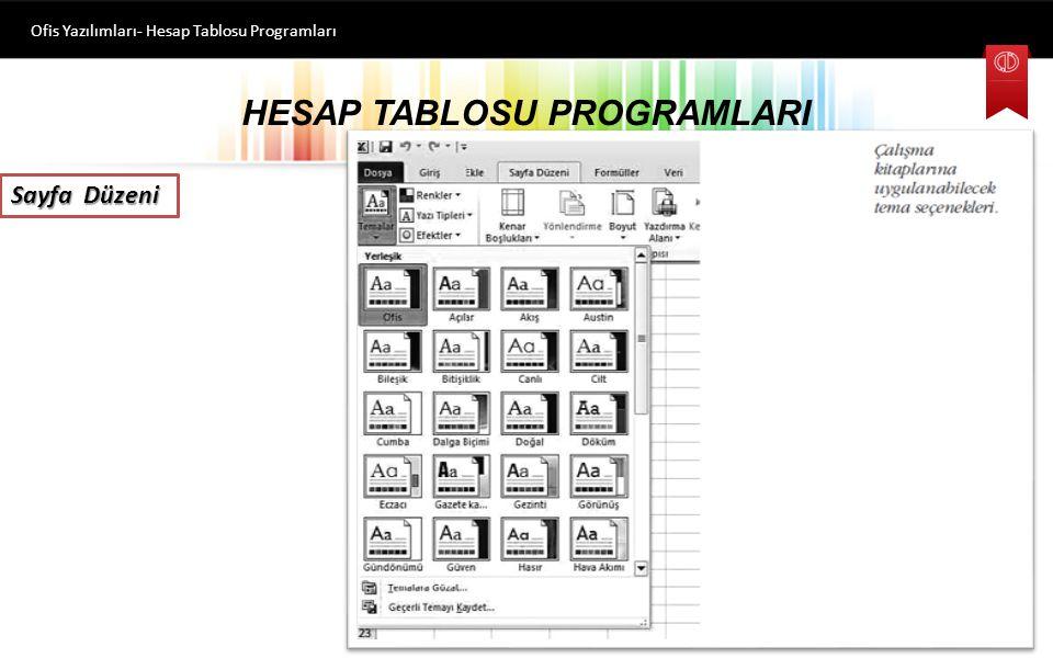 HESAP TABLOSU PROGRAMLARI Ofis Yazılımları- Hesap Tablosu Programları Sayfa Düzeni Bu sekmede komutlar, Temalar, Sayfa Yapısı, Sayfa Arka Planı, Parag