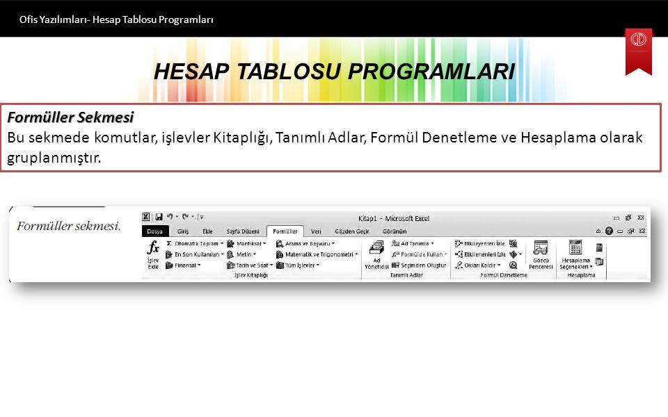 HESAP TABLOSU PROGRAMLARI Ofis Yazılımları- Hesap Tablosu Programları Sayfa Düzeni
