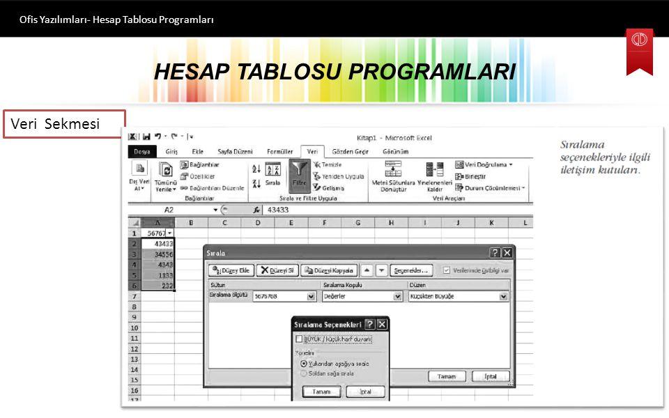 HESAP TABLOSU PROGRAMLARI Ofis Yazılımları- Hesap Tablosu Programları Veri Sekmesi Bu sekmedeki komutlar, Bağlantılar, Sırala ve Filtre Uygula, Veri Araçları ve Anahat olarak gruplanmıştır.