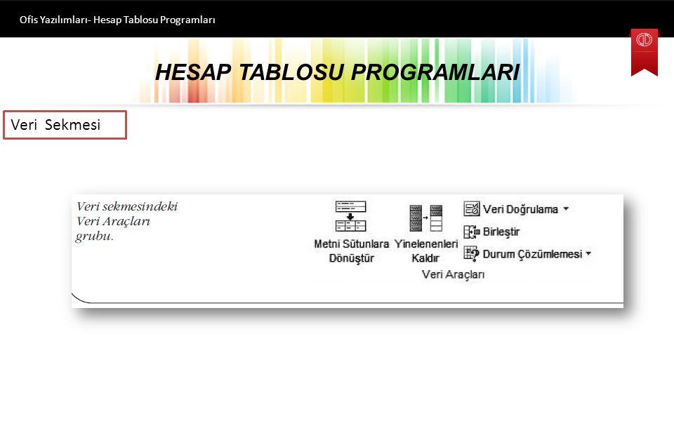 HESAP TABLOSU PROGRAMLARI Ofis Yazılımları- Hesap Tablosu Programları Veri Sekmesi