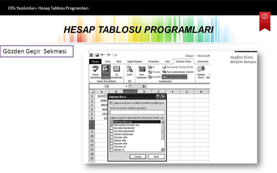 HESAP TABLOSU PROGRAMLARI Ofis Yazılımları- Hesap Tablosu Programları Gözden Geçir Sekmesi Bu sekmede komutlar, Yazım Denetleme, Dil, Açıklamalar ve D