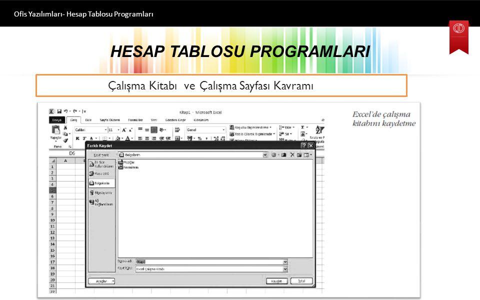 HESAP TABLOSU PROGRAMLARI Ofis Yazılımları- Hesap Tablosu Programları Çalışma Kitabı ve Çalışma Sayfası Kavramı