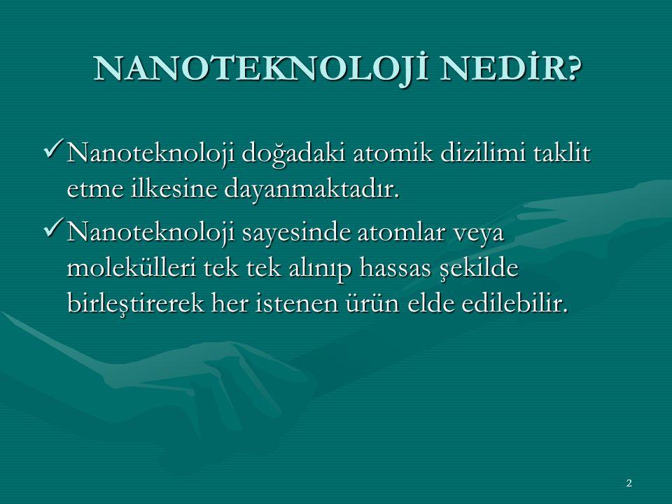 2 NANOTEKNOLOJİ NEDİR? Nanoteknoloji doğadaki atomik dizilimi taklit etme ilkesine dayanmaktadır. Nanoteknoloji doğadaki atomik dizilimi taklit etme i
