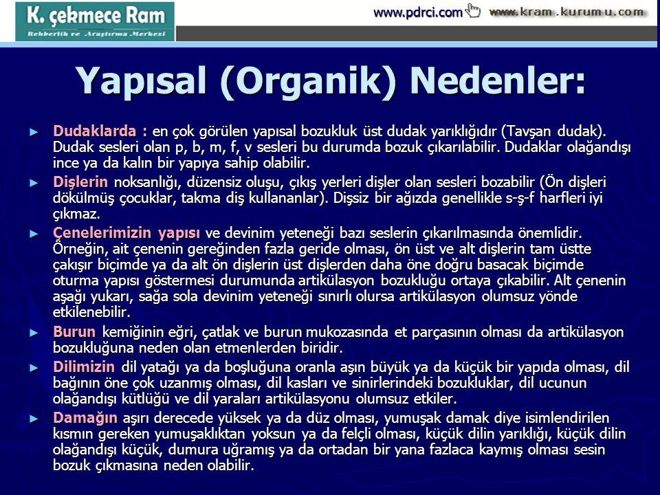 www.pdrci.com Yapısal (Organik) Nedenler: ► Dudaklarda : en çok görülen yapısal bozukluk üst dudak yarıklığıdır (Tavşan dudak). Dudak sesleri olan p,