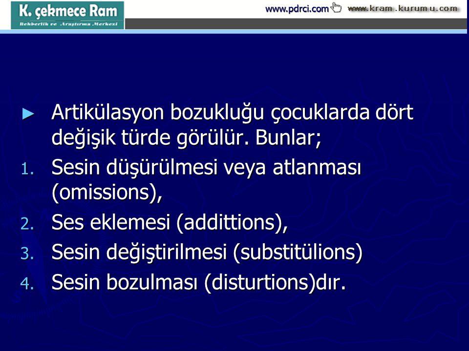 www.pdrci.com ► Artikülasyon bozukluğu çocuklarda dört değişik türde görülür. Bunlar; 1. Sesin düşürülmesi veya atlanması (omissions), 2. Ses eklemesi