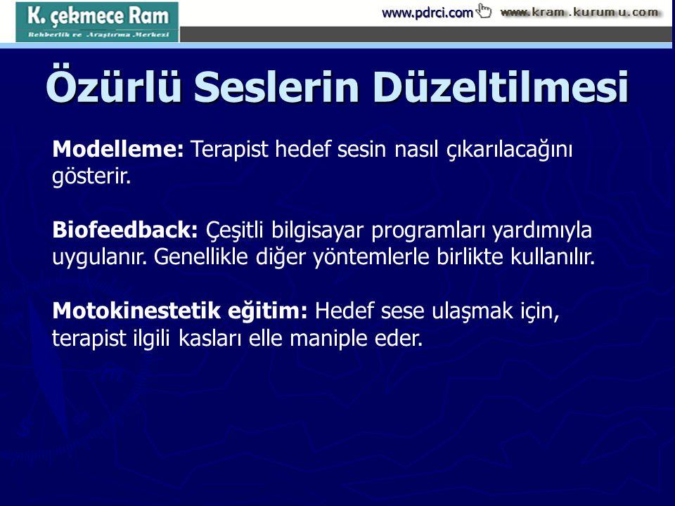 www.pdrci.com Özürlü Seslerin Düzeltilmesi Modelleme: Terapist hedef sesin nasıl çıkarılacağını gösterir. Biofeedback: Çeşitli bilgisayar programları